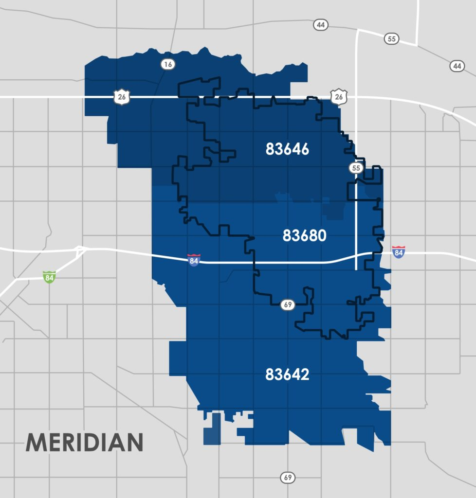 Meridian, Idaho Zip Code Map