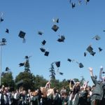 Meridian, Idaho Graduates Throwing Their Caps in the Air